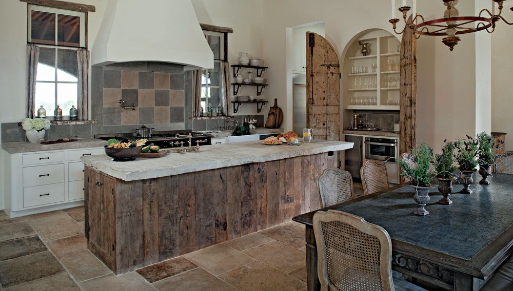 Family Kitchen With Flag Stone Floor And Backsplash